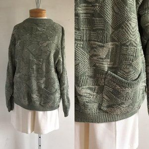 vintage green sweater, 1970s sweater